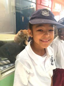 Grade 1s pose with the animals at the AACL