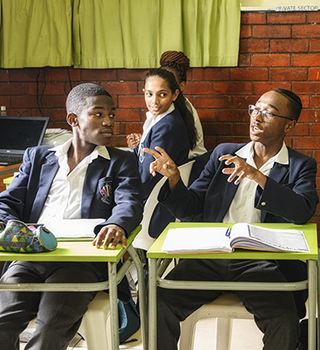 Learners having a discussion