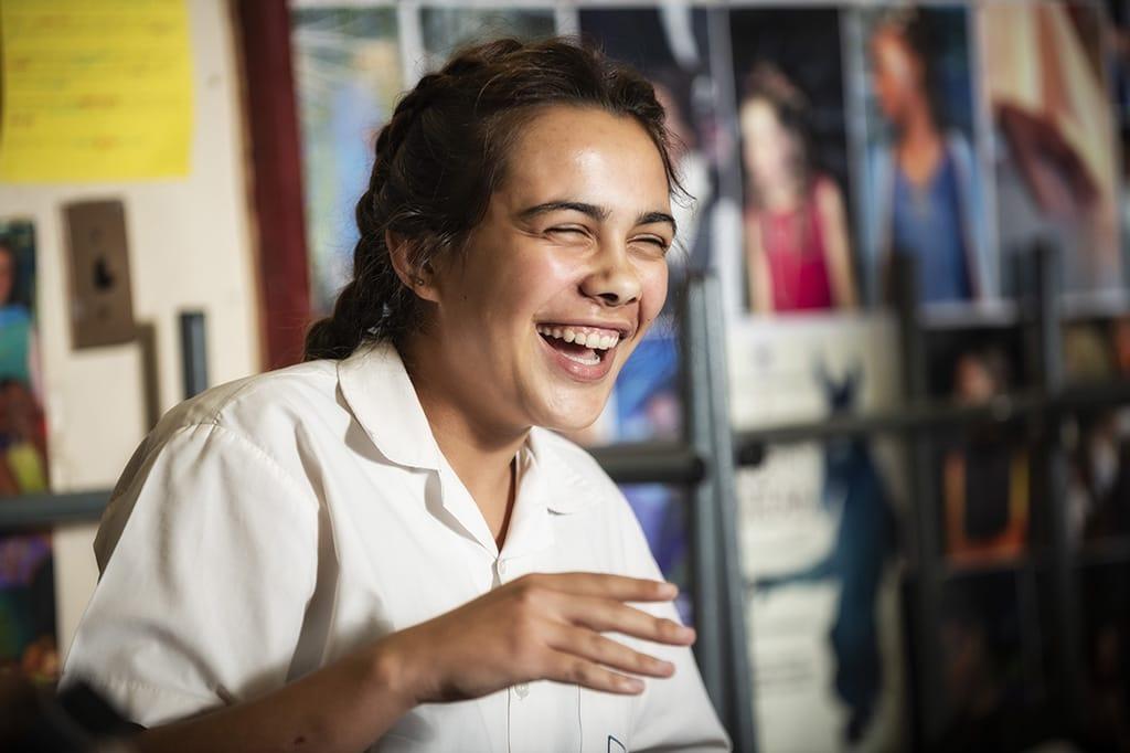 Happy drama student